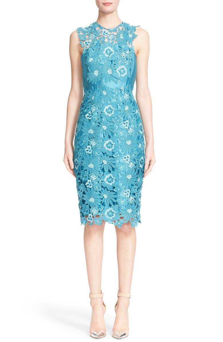 LELA ROSE Guipure Lace Sleeveless Sheath Dress, Main, color, 400