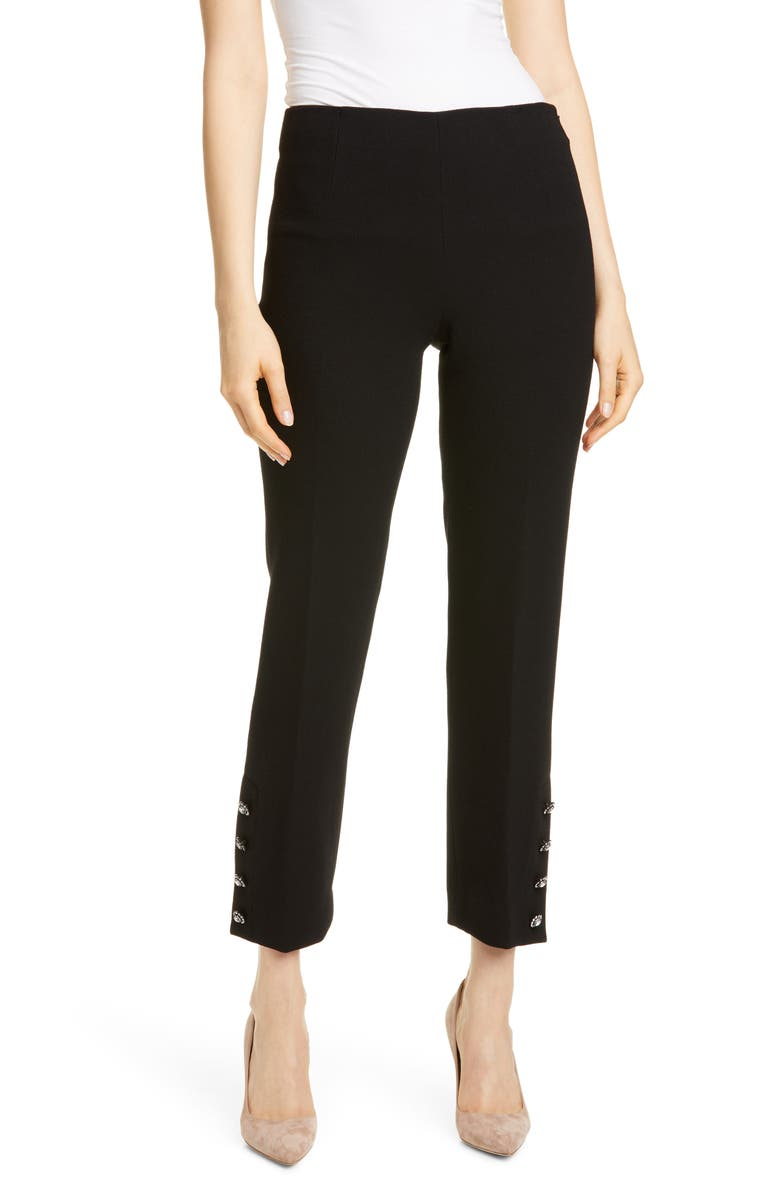 LELA ROSE Crystal Button Cuff Wool Blend Pants, Main, color, 001