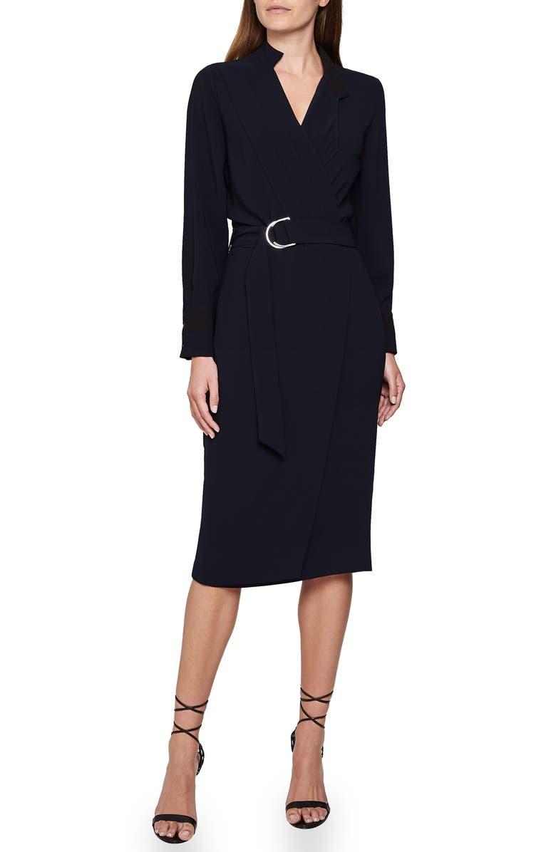 REISS Francis Long Sleeve Tux Shirtdress, Main, color, NAVY/ BLACK