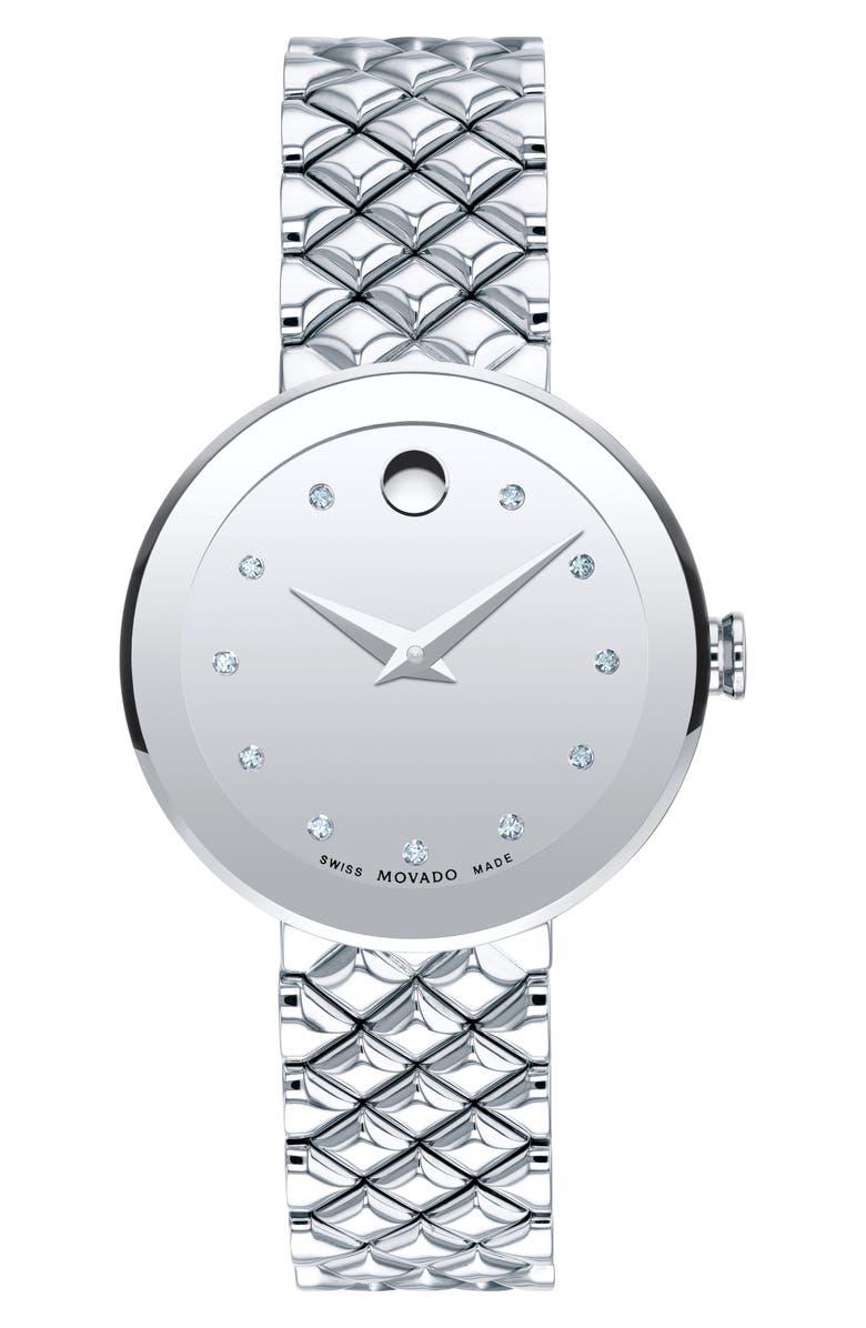 MOVADO Sapphire Diamond Bracelet Watch, 30mm, Main, color, 040