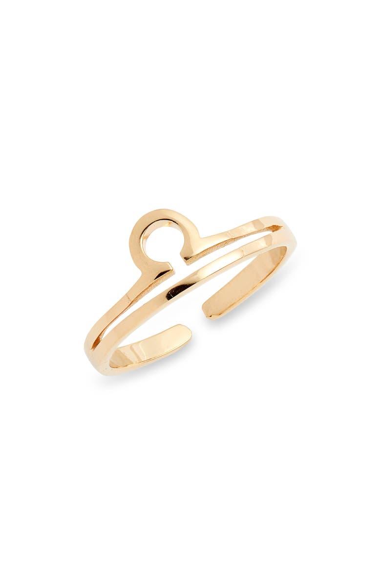 STERLING FOREVER Zodiac Ring, Main, color, GOLD LIBRA
