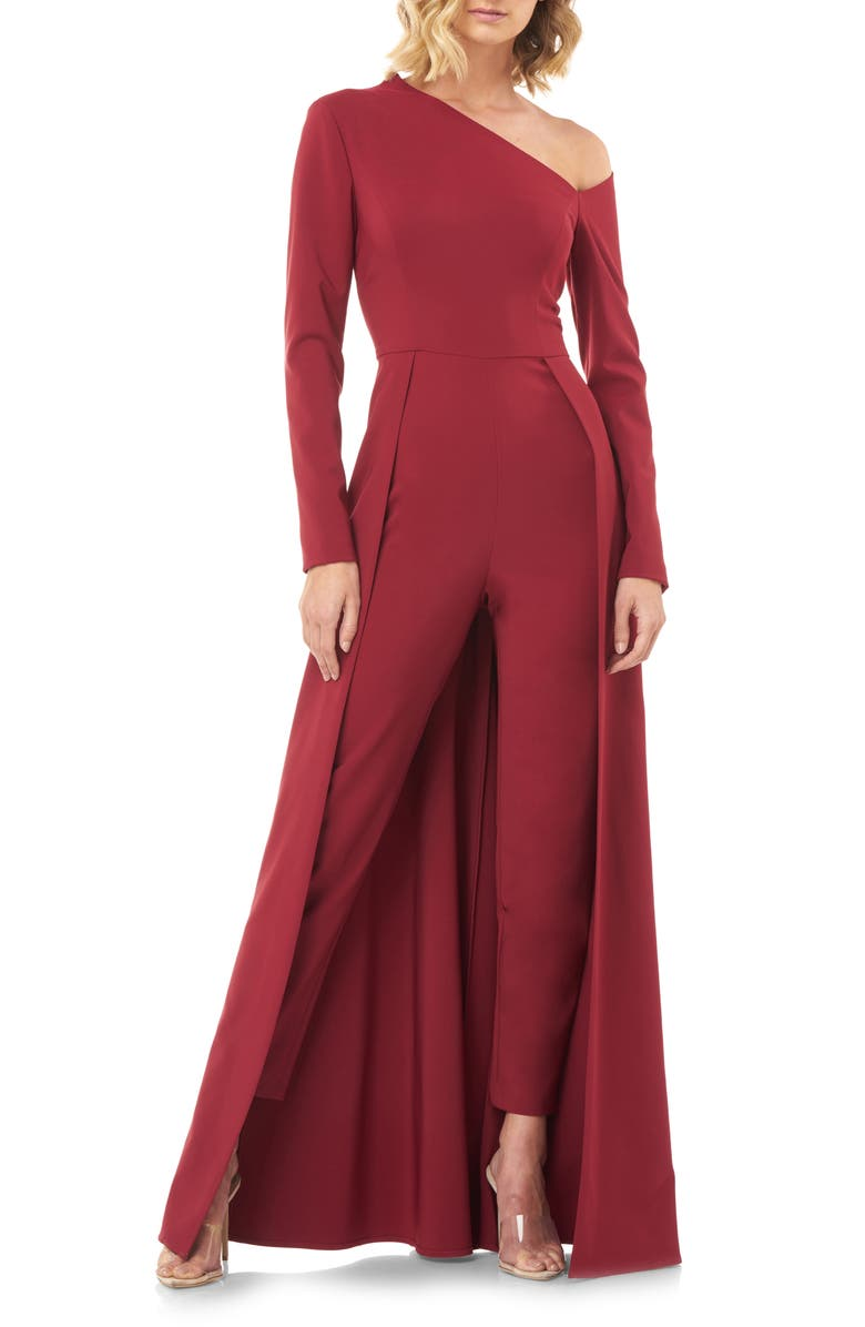KAY UNGER One-Sleeve Maxi Romper, Main, color, WINE