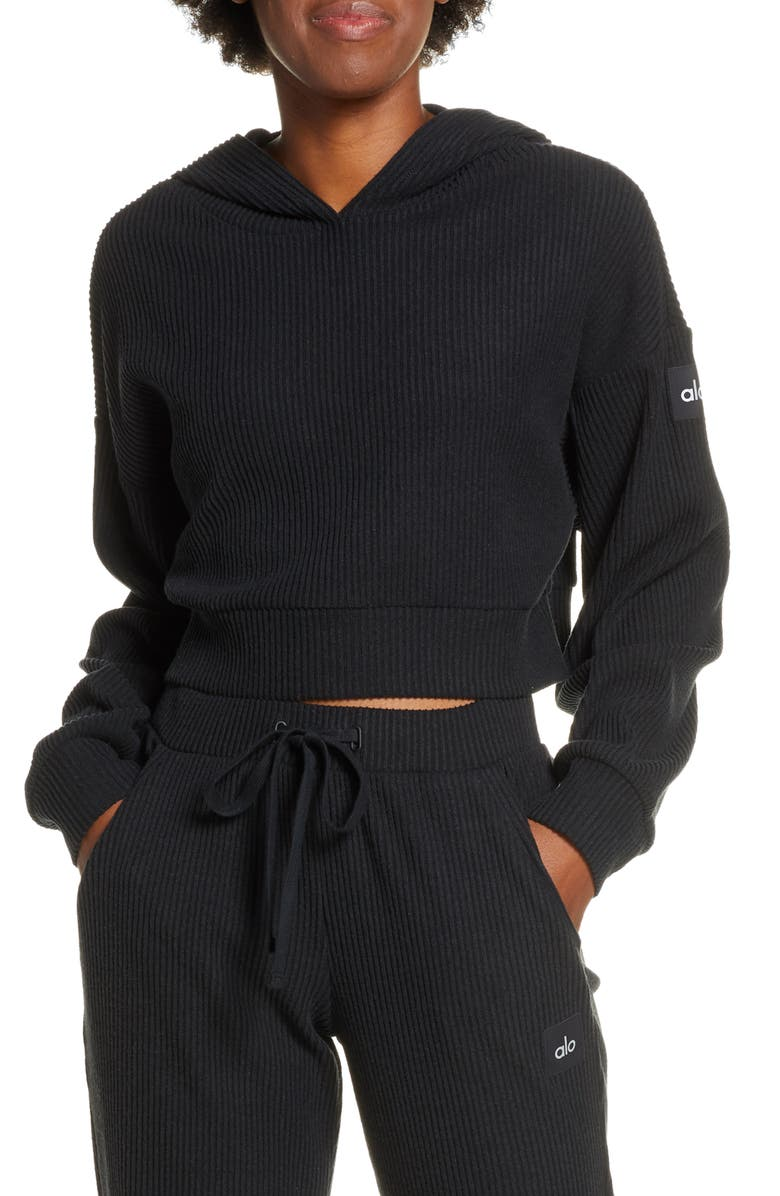 ALO Muse Ribbed Crop Hoodie, Main, color, BLACK