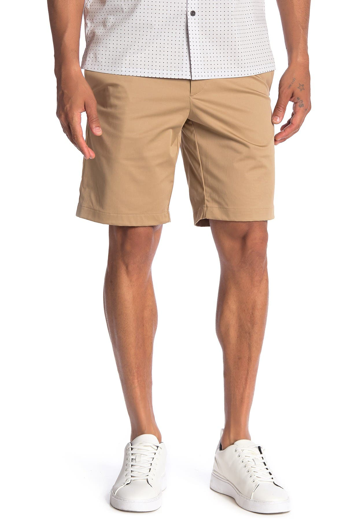 Image of Theory Zaine Soft Sateen Flat Front Shorts