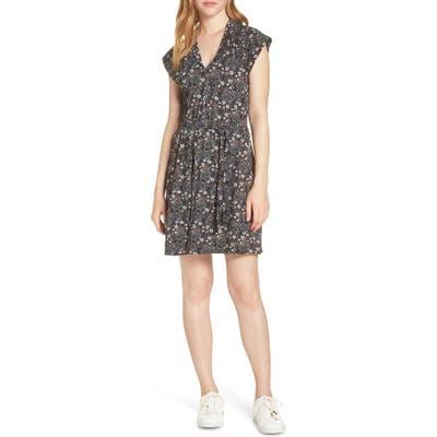 French Connection Hallie Cap Sleeve Floral Print Dress, Black