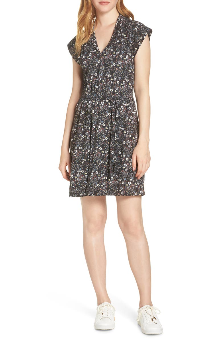 FRENCH CONNECTION Hallie Cap Sleeve Floral Print Dress, Main, color, 002