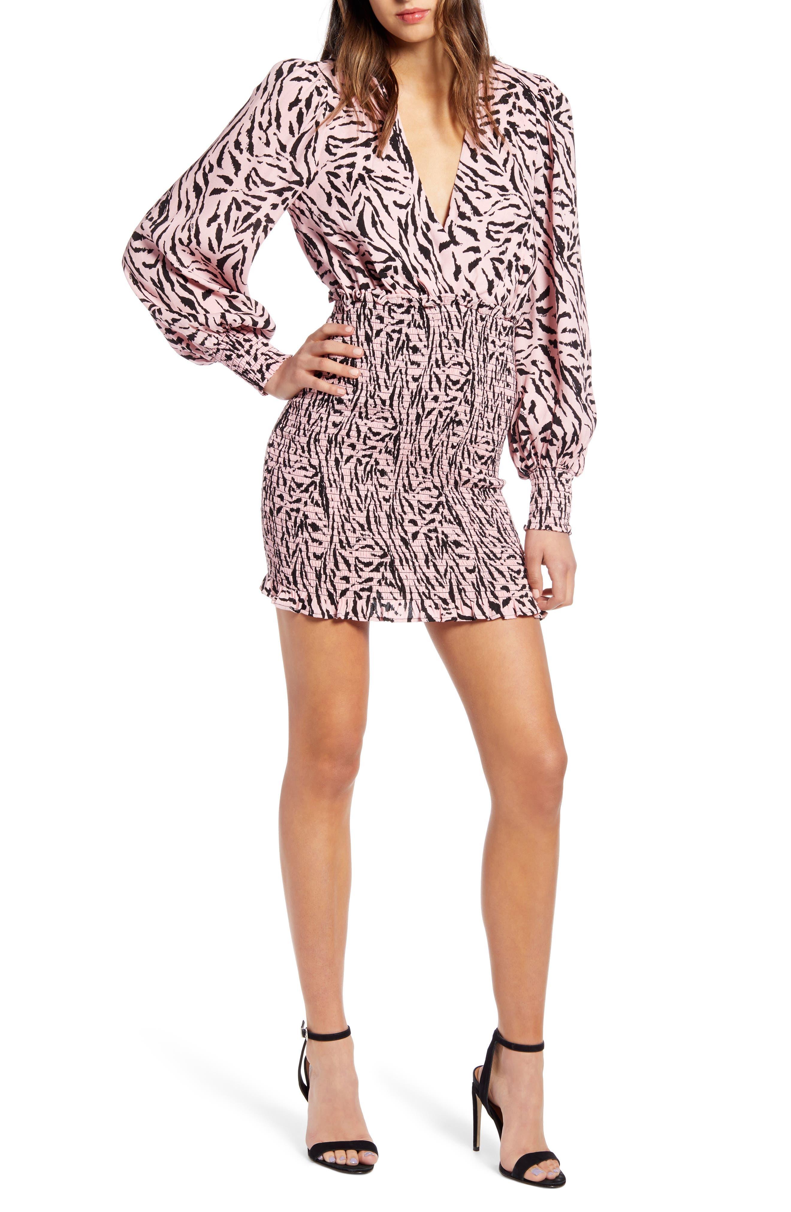 Afrm Print Long Sleeve Smocked Minidress, Pink