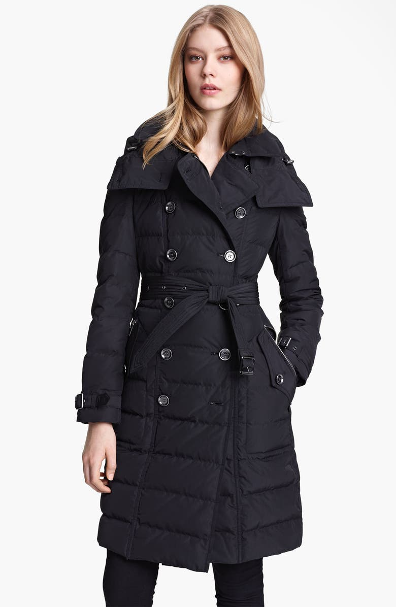 BURBERRY BRIT Channel Quilted Down Coat, Main, color, 001