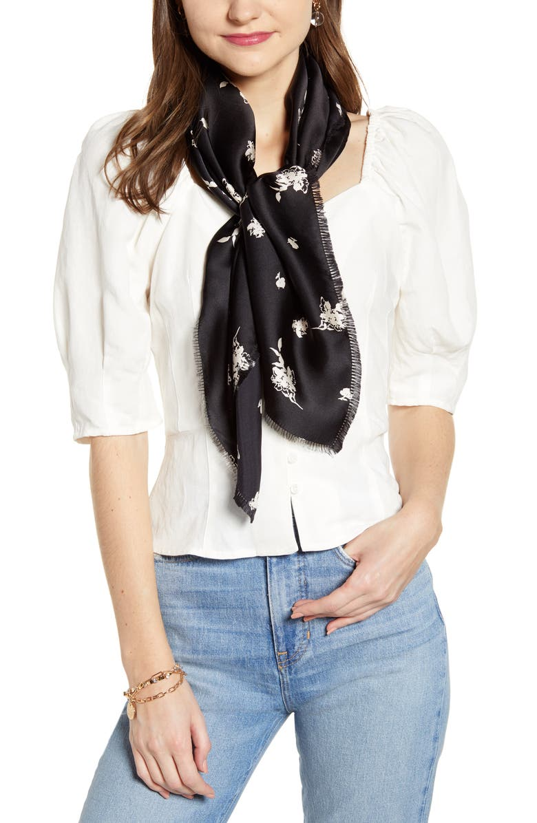 SOMETHING NAVY Floral Print Square Silk Scarf, Main, color, BLACK ETCH FLOWERS