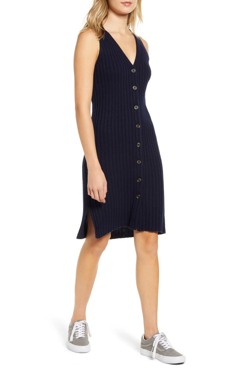 MADEWELL Button Front Tank Sweater Dress, Main, color, 400