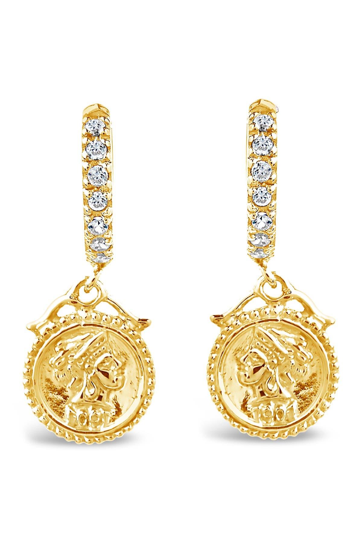 Sterling Forever 14K Yellow Gold Vermeil CZ Crown Jewel 12mm Micro Hoop Earrings