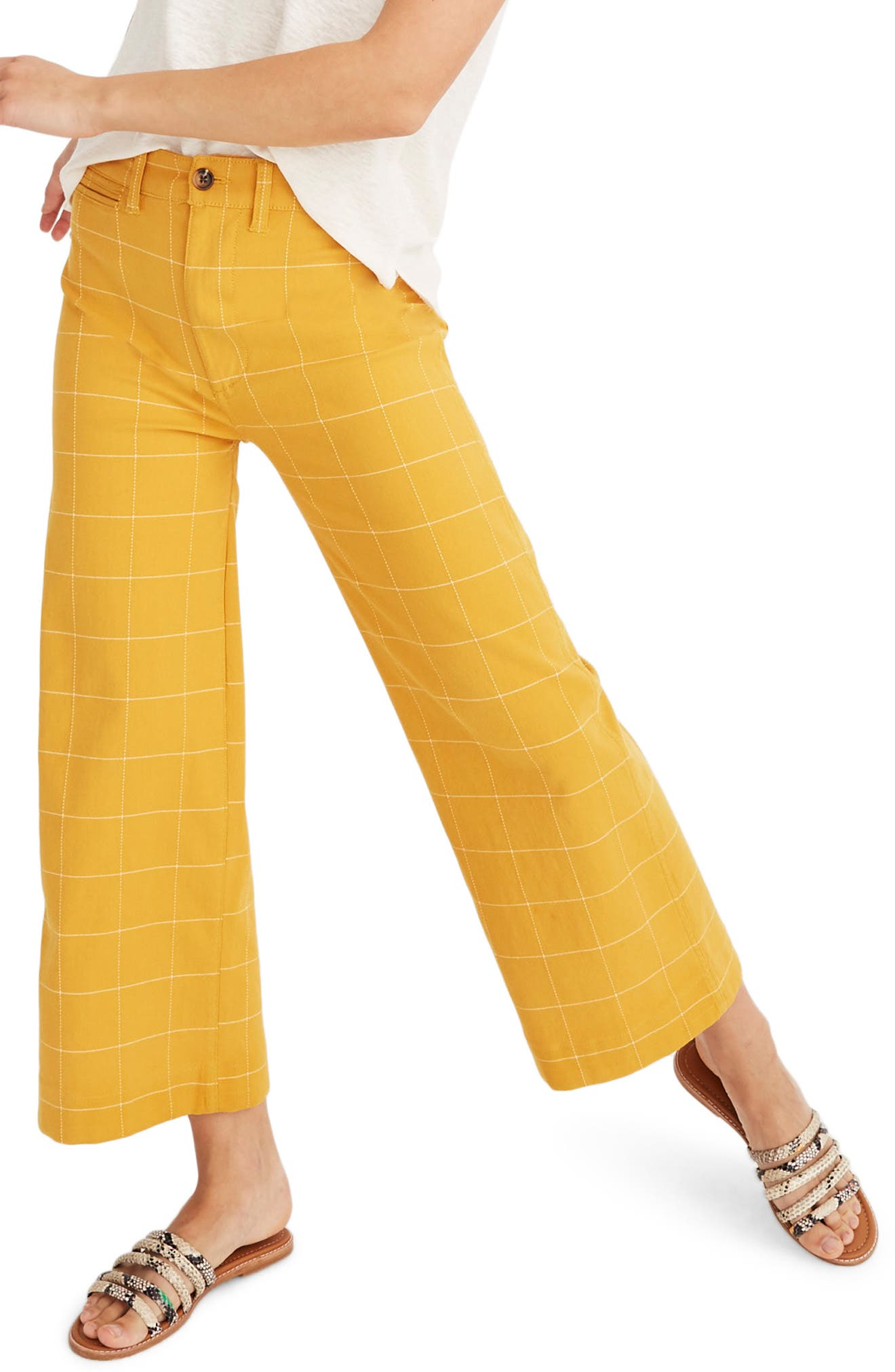 Emmett Windowpane Crop Wide Leg Pants, Main, color, WINDOWPANE TUNGSTEN GLOW