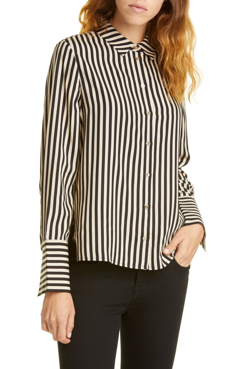 TED BAKER LONDON Colour by Numbers Hencha Stripe Shirt, Main, color, BLACK