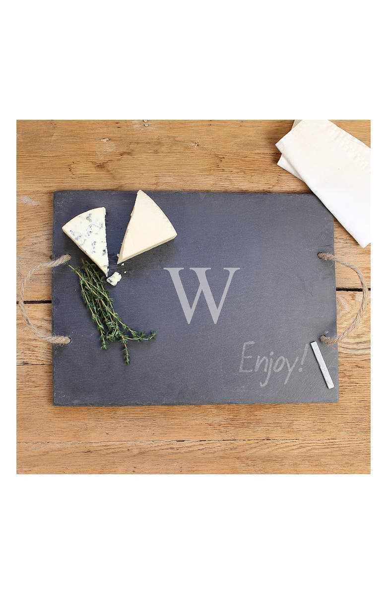 CATHY'S CONCEPTS Monogram Slate Serving Board, Main, color, W