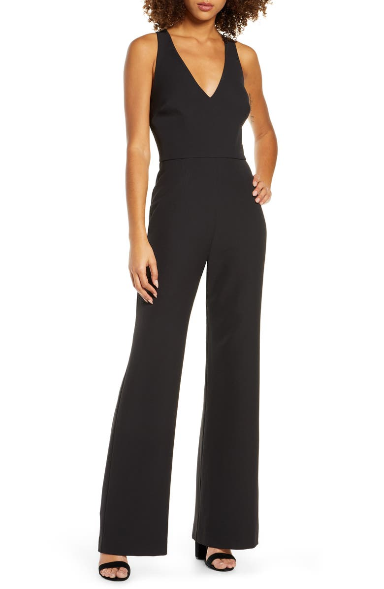 CHARLES HENRY Cross Strap Sleeveless Jumpsuit, Main, color, BLACK