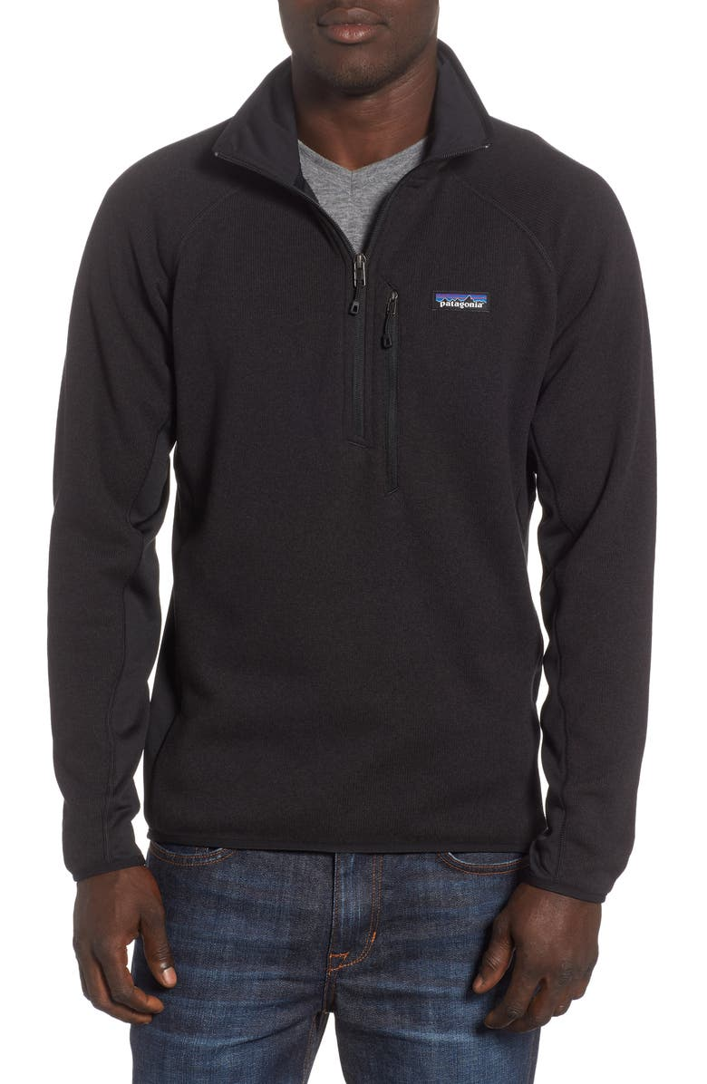 PATAGONIA Better Sweater<sup>®</sup> Performance Slim Quarter-Zip Pullover, Main, color, BLACK