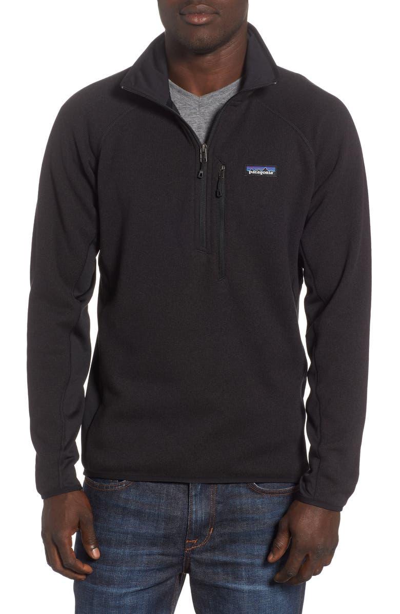 PATAGONIA Better Sweater<sup>®</sup> Performance Slim Quarter-Zip Pullover, Main, color, BLACK