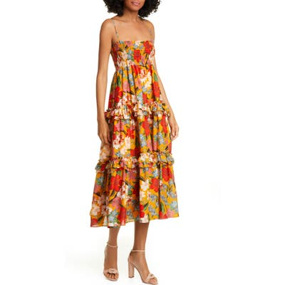 Nicholas Floral Print Midi Dress, Orange