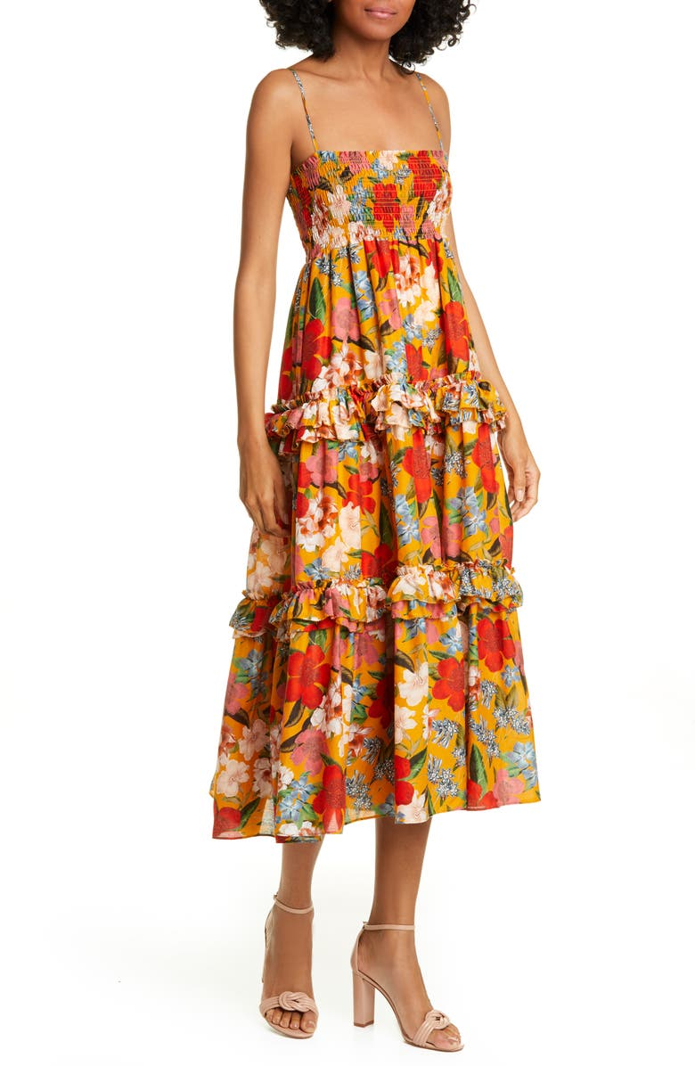 NICHOLAS Floral Print Midi Dress, Main, color, 800