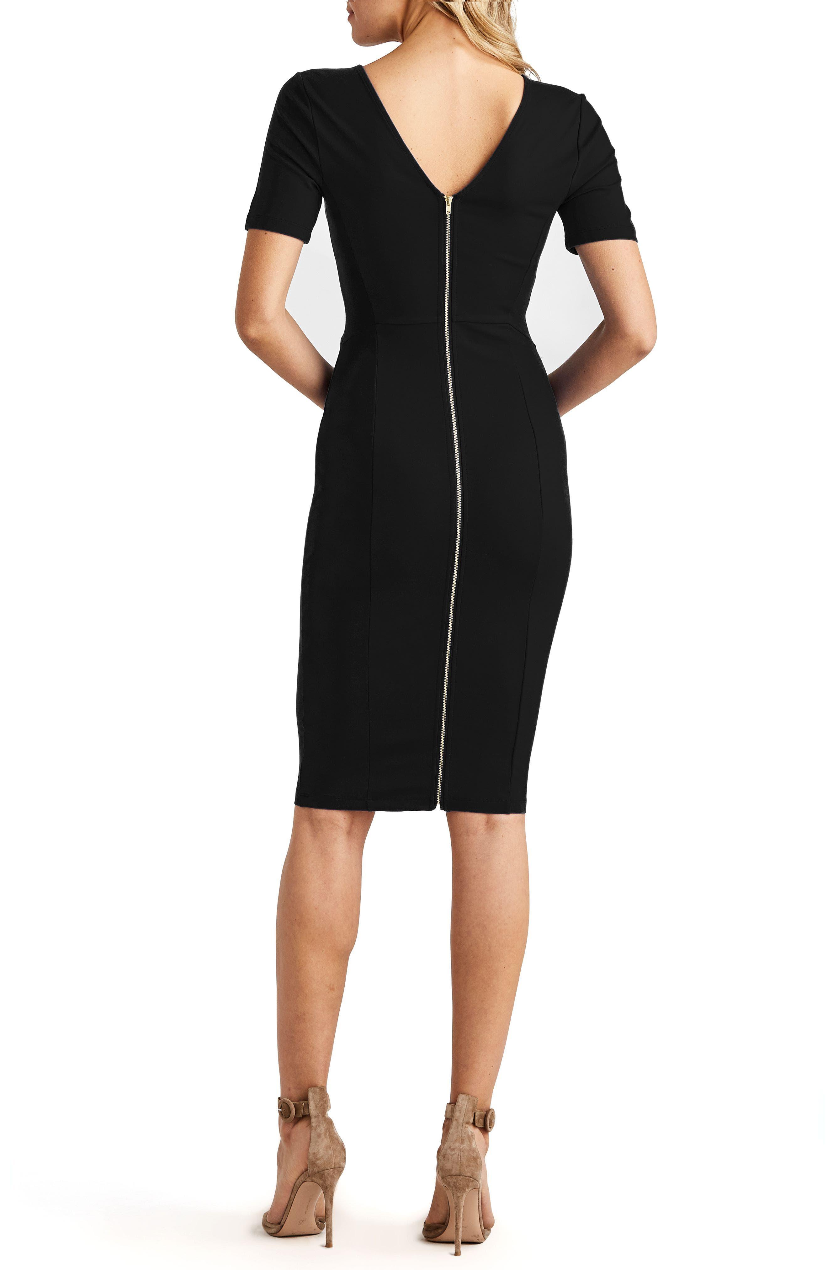 ,                             Zip Back Sheath Dress,                             Alternate thumbnail 4, color,                             BLACK