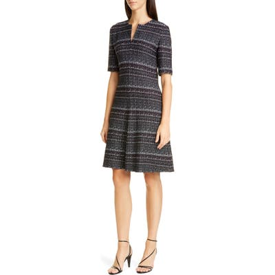 St. John Collection Texture Boucle Tweed A-Line Dress, Black
