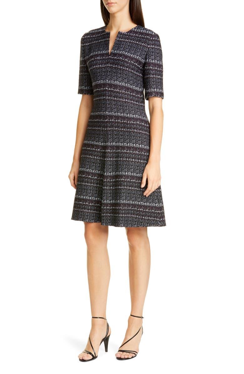 ST. JOHN COLLECTION Texture Bouclé Tweed A-Line Dress, Main, color, IRIS MULTI