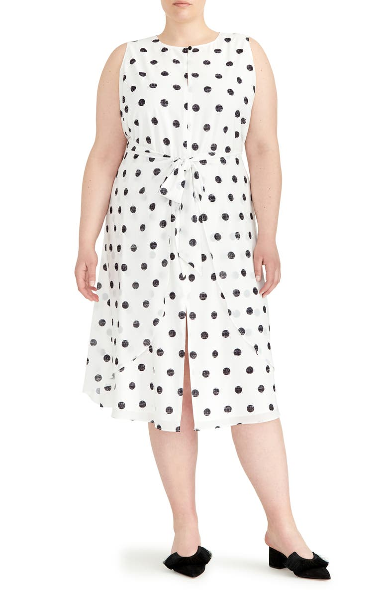 RACHEL ROY COLLECTION Polka Dot Twist Front Dress, Main, color, NATURAL COMBO