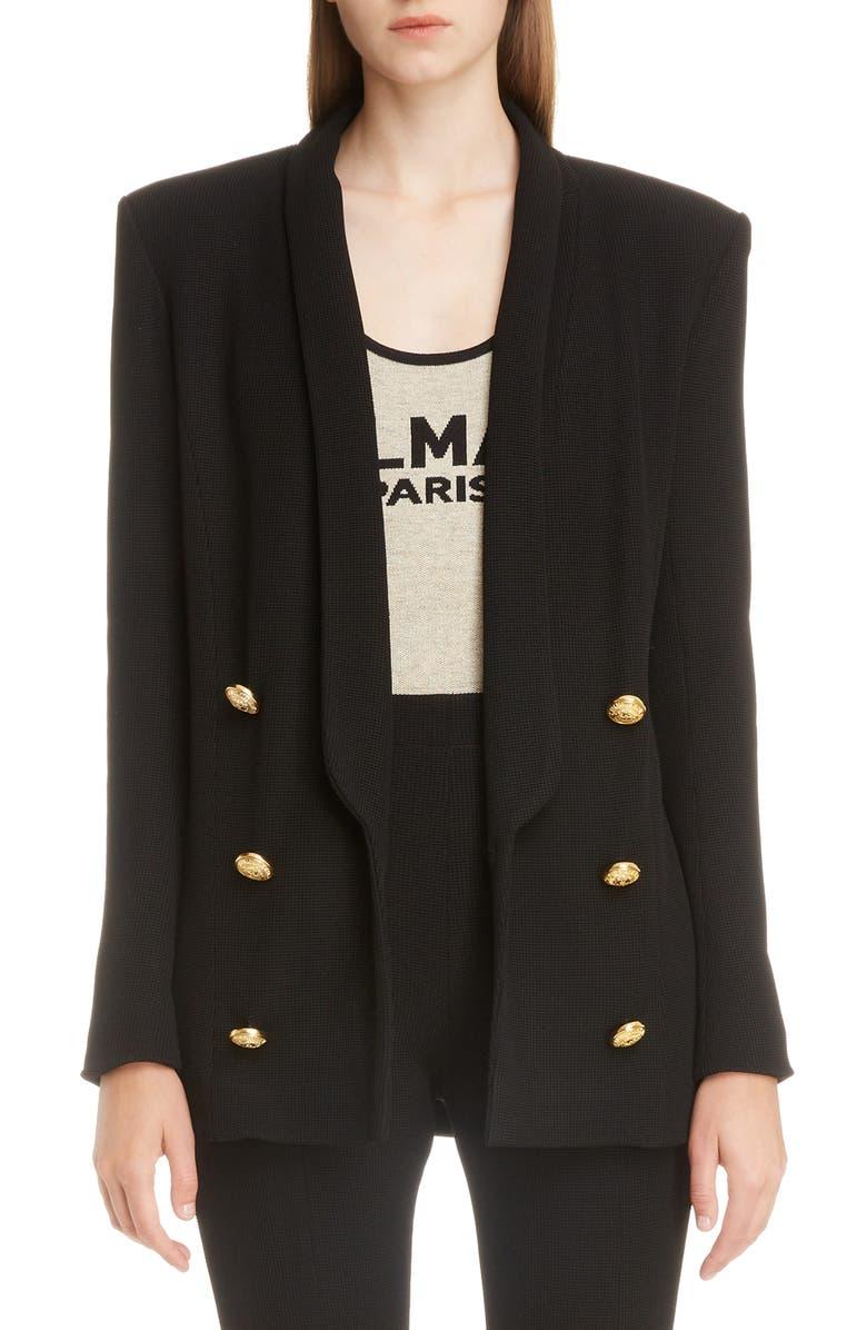 BALMAIN Oversize Double Breasted Blazer, Main, color, NOIR