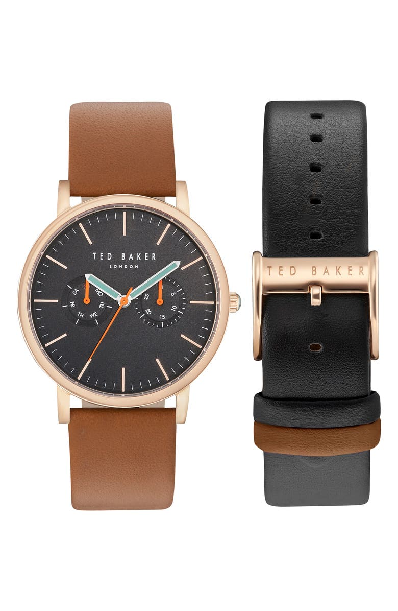 TED BAKER LONDON Brit Round Watch Three-Strap Gift Set, 40mm, Main, color, 001