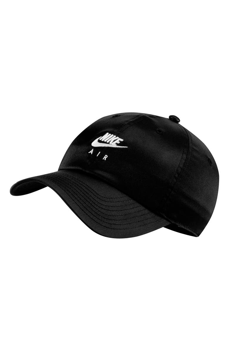 NIKE Sportswear Nike Air Embroidered Satin Baseball Hat, Main, color, BLACK/ WHITE