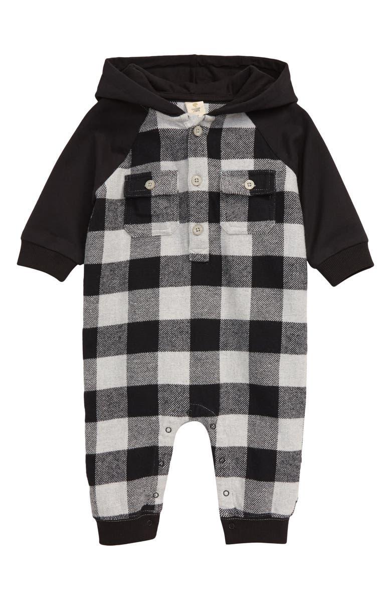 TUCKER + TATE Hooded Flannel Romper, Main, color, GREY ASH HEATHER BUFFALO