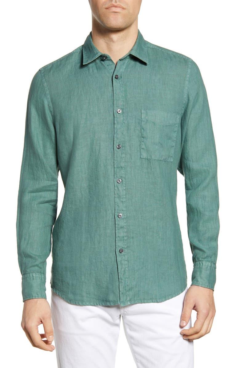 BOSS Relegant Slim Fit Solid Linen Button-Up Shirt, Main, color, 310