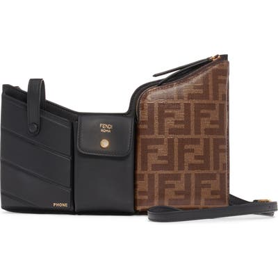Fendi Double-F Convertible 3-Pouch Leather Bag - Brown
