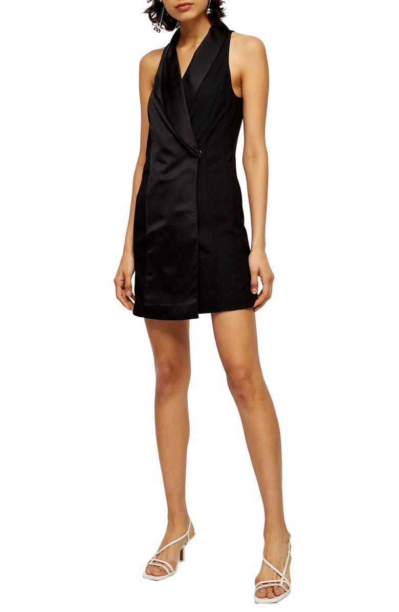 TOPSHOP Satin Tux Minidress, Main, color, BLACK