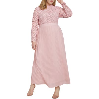 Plus Size Eloquii Lace Bodice Pleated Long Sleeve Evening Dress, Pink