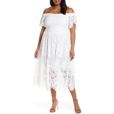 Plus Size Vince Camuto Off The Shoulder Lace Midi Dress, Ivory