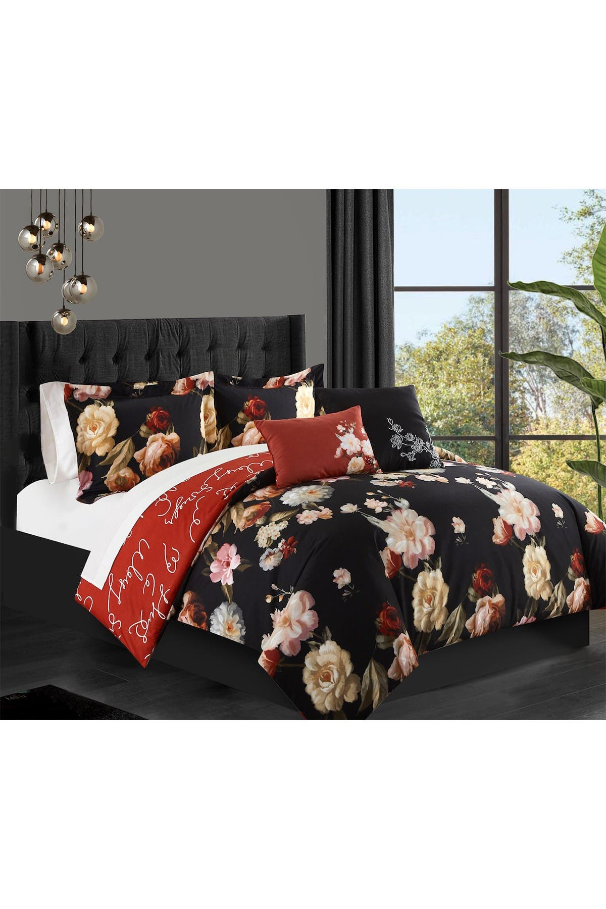 Image of Chic Home Bedding Edith Floral Print With Cursive Script On The Reverse Twin Comforter Set - Black - 4-Piece Set