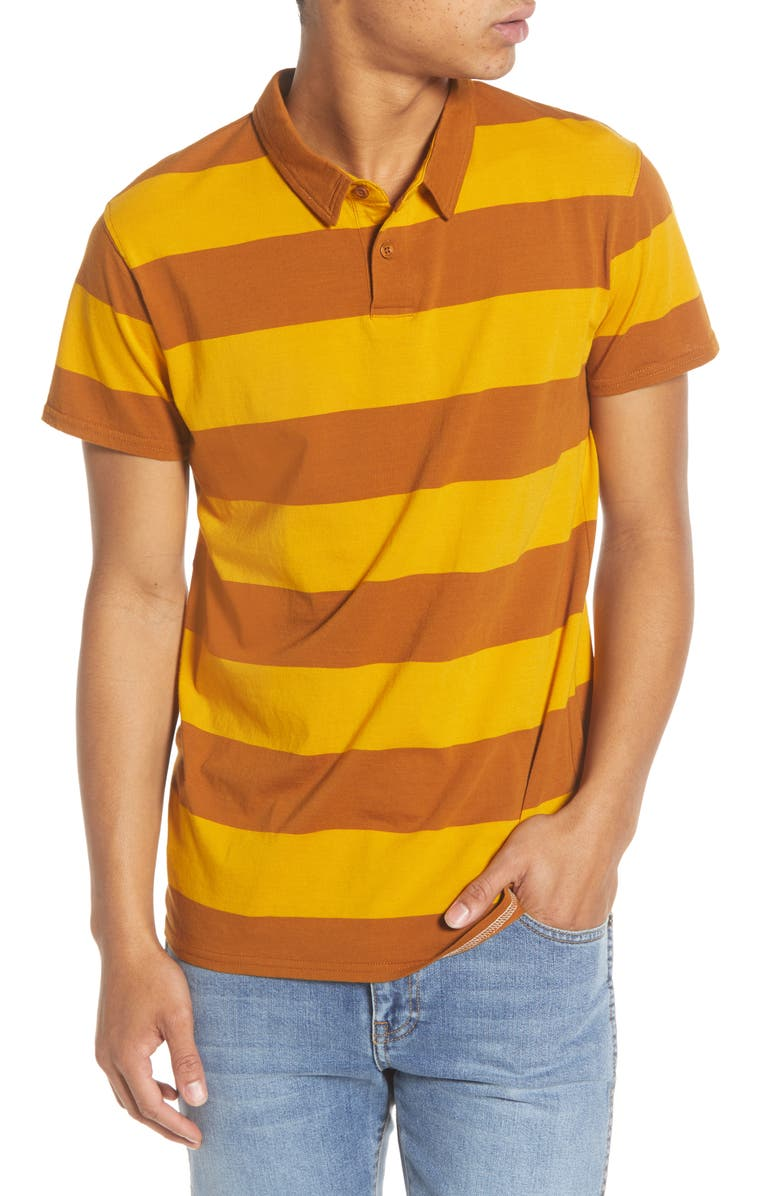 BANKS JOURNAL Vibes Stripe Polo, Main, color, TOBACCO