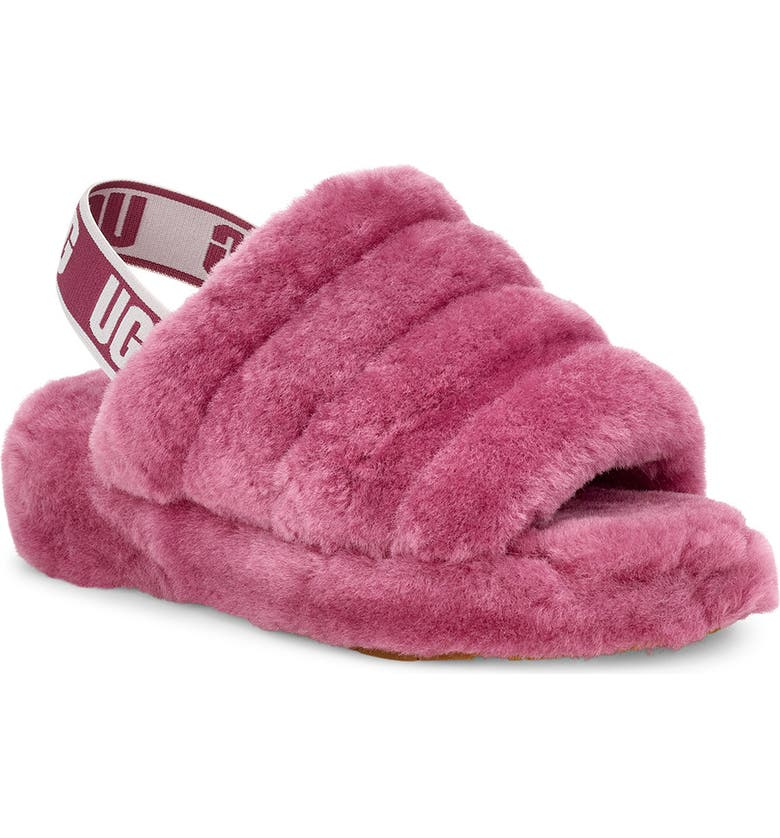 UGG<SUP>®</SUP> Fluff Yeah Genuine Shearling Slipper, Main, color, BOUGAINVILLEA