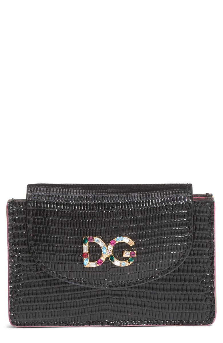 DOLCE&GABBANA Crystal Logo Embossed Leather Wallet, Main, color, 002