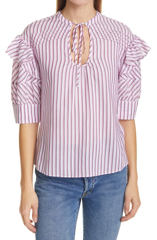 Tanya Taylor Callie Stripe Ruffle Sleeve Cotton Blend Blouse In Lacquer/neon Pink Multi Stripe