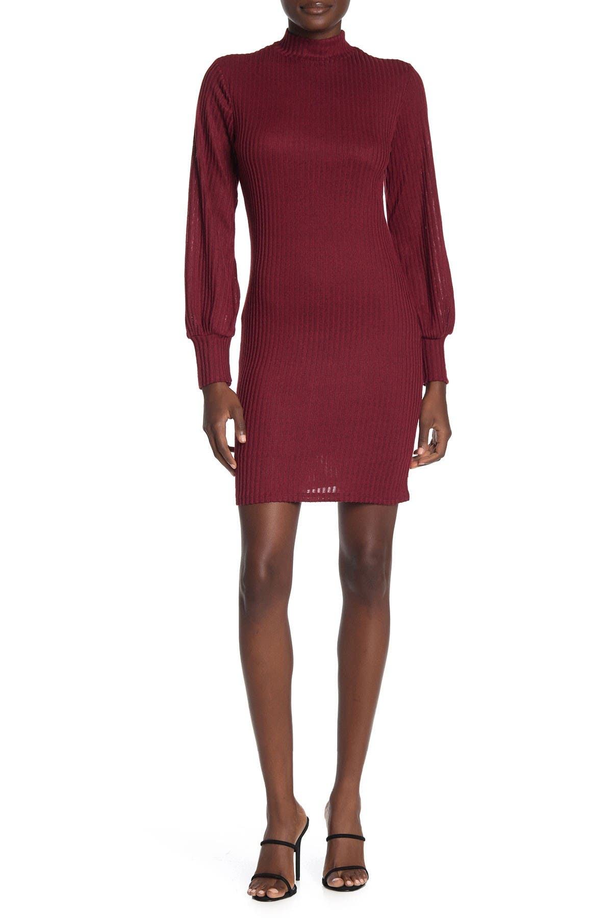 Image of MAX & ASH Ribbed Knit Turtleneck Mini Dress