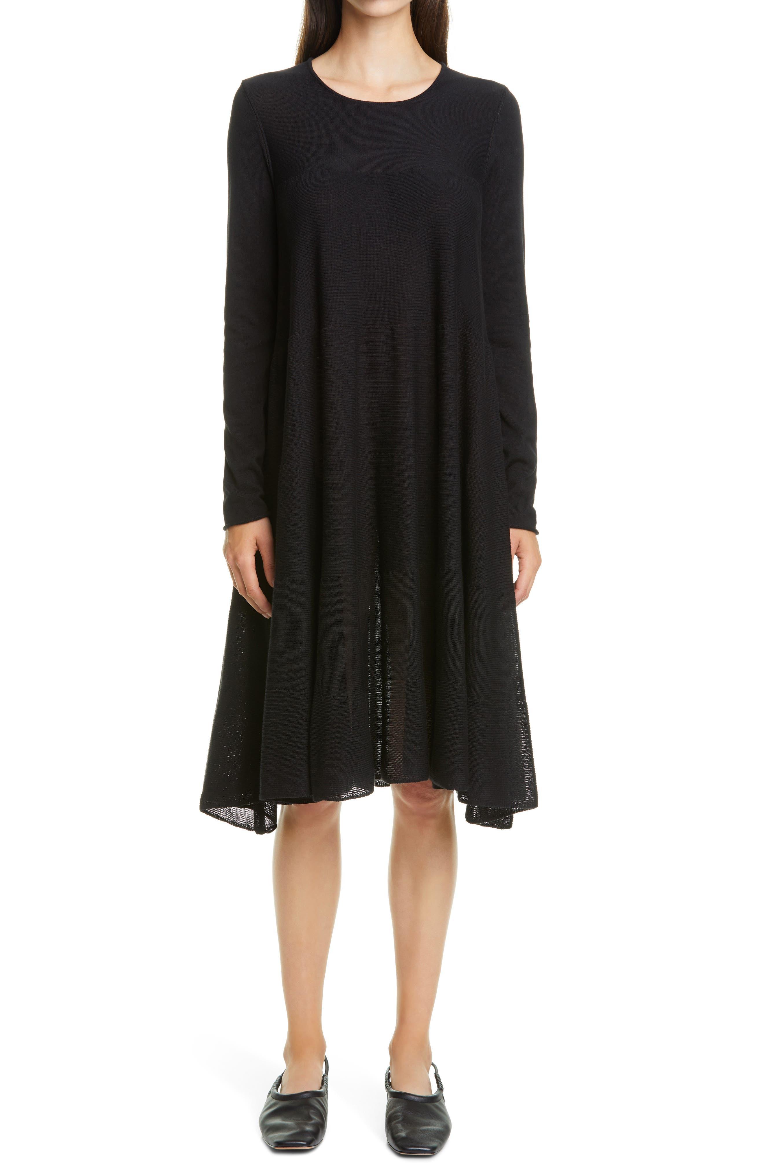 Addison Rib Detail Long Sleeve Dress