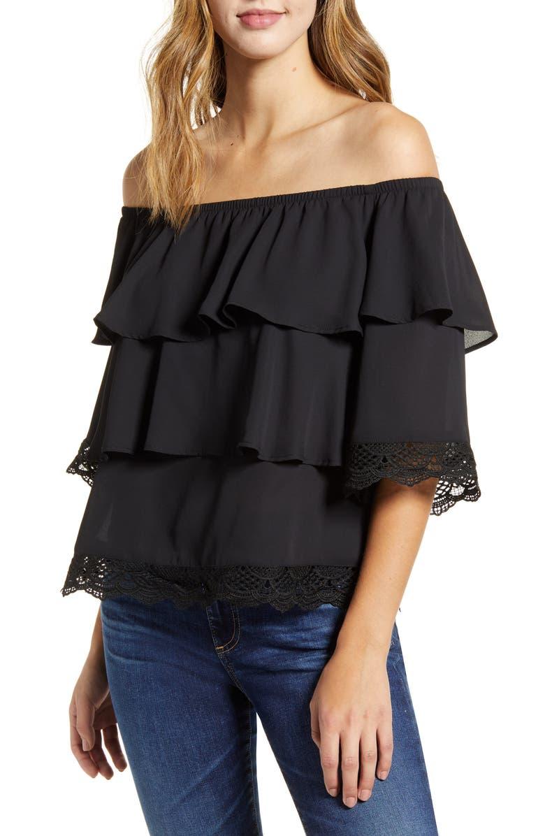 GIBSON x Glam The Mom in Style Tiered Off the Shoulder Lace Detail Top, Main, color, 001