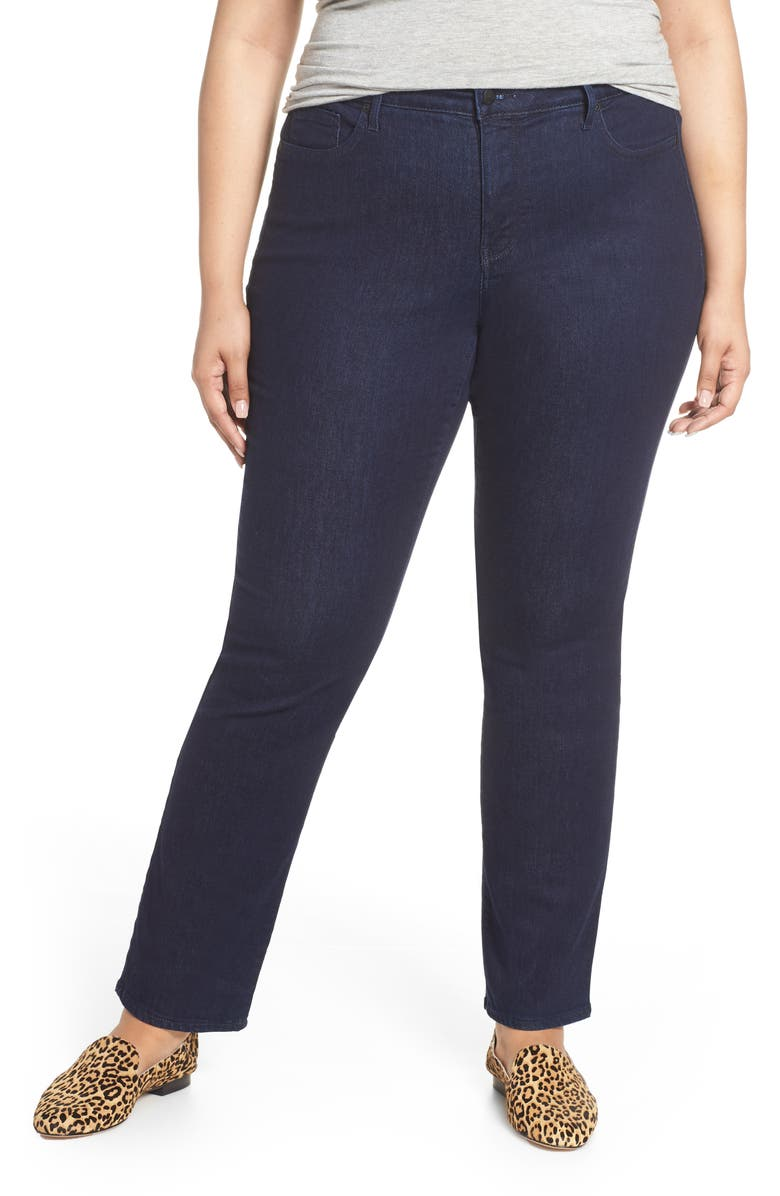 NYDJ Marilyn High Rise Straight Leg Jeans, Main, color, RINSE TONAL STITCH