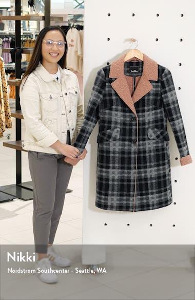 Faux Shearling Trim Plaid Coat, sales video thumbnail