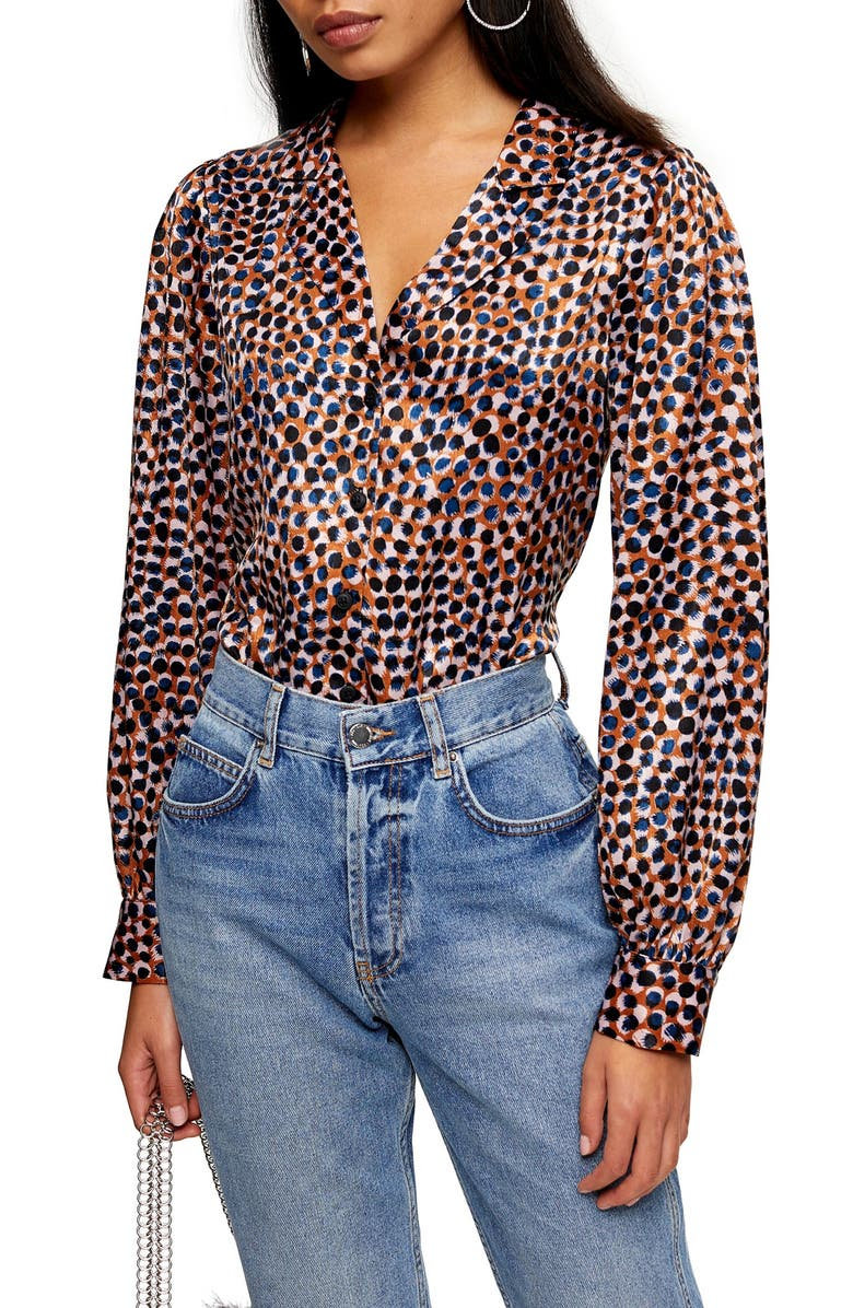 TOPSHOP Animal Smudge Shirt, Main, color, BLUE MULTI
