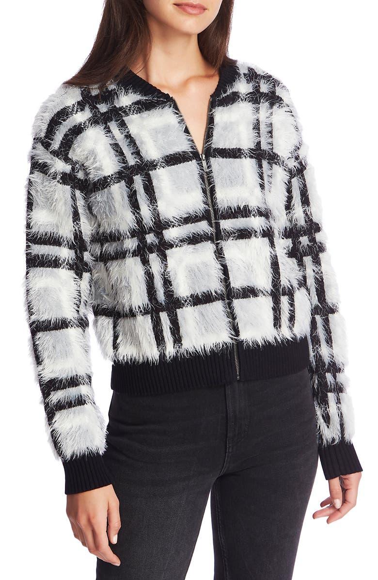 1.STATE Zip Front Plaid Eyelash Sweater Jacket, Main, color, SILVER BLUSH