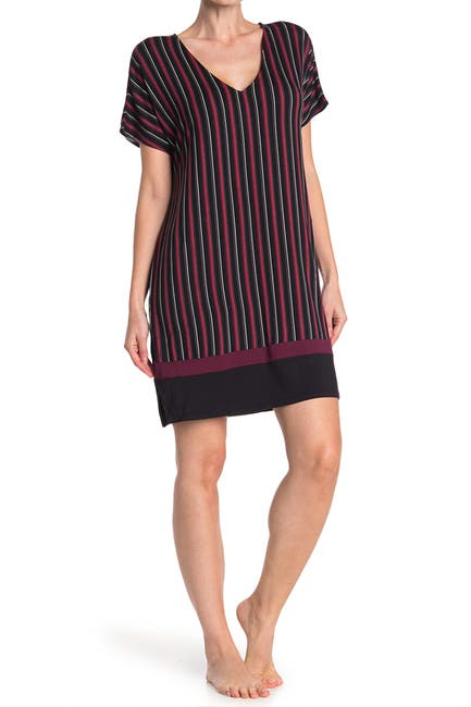 Image of Donna Karan V-Neck Short Sleeve Nightshirt