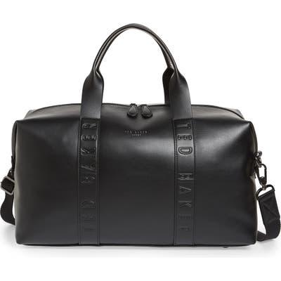 Ted Baker London Debossed Faux Leather Duffle Bag - Black